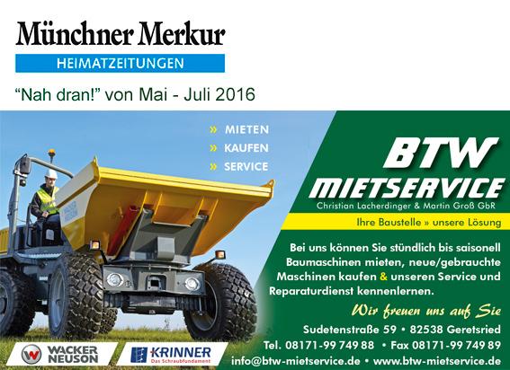 Anzeige Münchner Merkur BTW-Mietservice